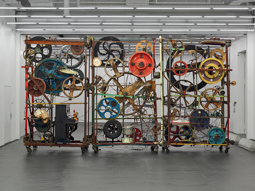 Jean Tinguely, Méta-Harmonie II, 1979, Mobile scrap-metal sculpture with musical instruments and other objects, 3 parts: iron, sheet metal, brass, plastic, rubber, wood, leather, glass, electric motors, 380 × 690 × 160 cm, Emanuel Hoffmann Foundation, On permanent loan to Museum Tinguely, 1996, Photo: Tom Bisig, Basel, © 2018, Pro Litteris, Zurich