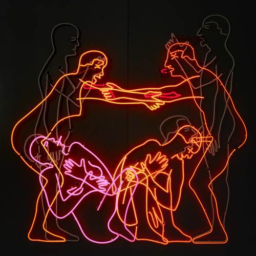 Neon tubing mounted on aluminum, 6 ft. 5 15/16 in. × 6 ft. 6 5/16 in. × 12 9/16 in. (198 × 199 × 32 cm), Emanuel Hoffmann Foundation, on permanent loan to the Öffentliche Kunstsammlung Basel, photo: Bisig & Bayer, Basel, © Bruce Nauman / 2018, ProLitteris, Zurich