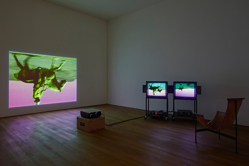 Bruce Nauman: Disappearing Acts, 17 March to 26 August 2018, Schaulager® Münchenstein/Basel, installation view with Bruce Nauman, Green Horses, 1988, Two-channel video installation (color, sound), one projection, two monitors, and chair, 59:40 min., continuous play, purchased jointly by the Albright-Knox Art Gallery, Buffalo, New York, with funds from the Bequest of Arthur B. Michael, by exchange; and the Whitney Museum of American Art, New York, with funds from the Director's Discretionary Fund and the Painting and Sculpture Committee, 2007, © Bruce Nauman / 2018, ProLitteris, Zurich, photo: Tom Bisig, Basel