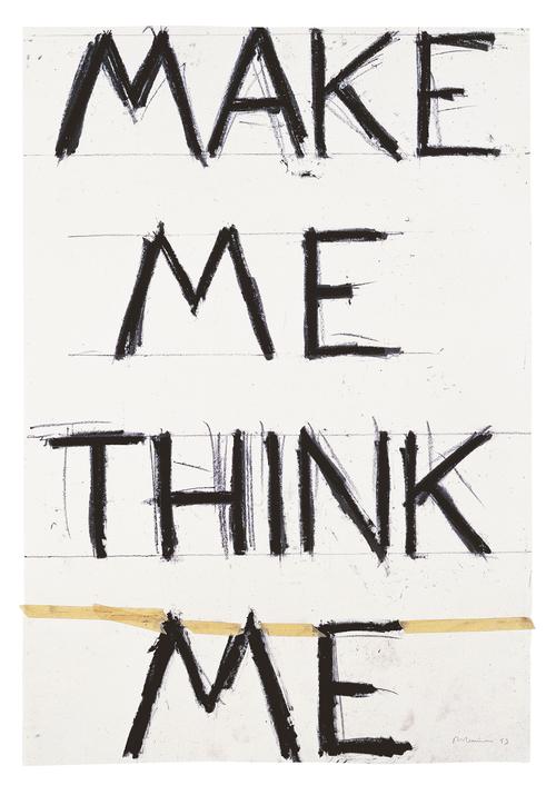 Graphite and masking tape on paper, 55 7/8 × 38 1/4 in. (142 × 97.2 cm), Froehlich Collection, Stuttgart, photo: Dorothy Zeidman, New York, © Bruce Nauman / 2018, ProLitteris, Zurich