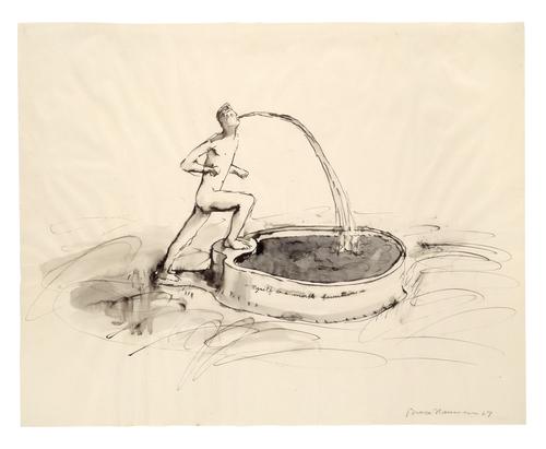 Feder mit Tusche, laviert, auf Papier, 48.3 × 60.8 cm, Emanuel Hoffmann-Stiftung, Depositum in der Öffentlichen Kunstsammlung Basel, Foto: Kunstmuseum Basel, Martin P. Bühler, © Bruce Nauman / 2018, ProLitteris, Zurich
