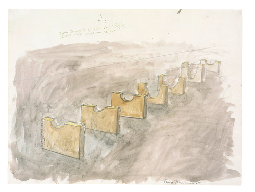 Pencil and watercolor on paper, 17 1/2 × 23 9/16 in. (44.5 ×59.8 cm), Emanuel Hoffmann Foundation, on permanent loan to the Öffentliche Kunstsammlung Basel, photo: Kunstmuseum Basel, Martin P. Bühler, © Bruce Nauman / 2018, ProLitteris, Zurich