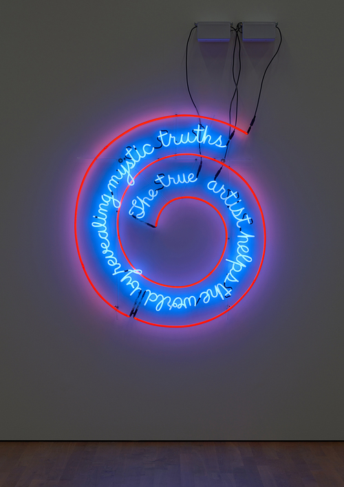 Bruce Nauman: Disappearing Acts, 17 March to 26 August 2018, Schaulager® Münchenstein/Basel, installation view with Bruce Nauman, The True Artist Helps the World by Revealing Mystic Truths (Window or Wall Sign), 1967, Neon tubing with clear-glass-tubing suspension frame, Collection the artist, exhibition copy, © Bruce Nauman / 2018, ProLitteris, Zurich, photo: Tom Bisig, Basel