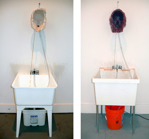 Wax, plaster, wire, sinks, faucets, clear hoses, pumps, and water,two parts, each: 77 3/16 × 22 13/16 × 25 9/16 in. (196 × 58 × 65 cm), Astrup Fearnley Collection, Oslo, Norway, photo: Courtesy the artist and Sperone Westwater, New York, © Bruce Nauman / 2018, ProLitteris, Zurich